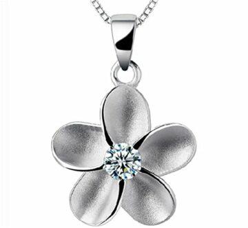 Damen Halskette mit Anhänger 925 Sterling Silber Plum Blume mit Zirkonia als Valentinstag Geschenk--Anhänger +Kette