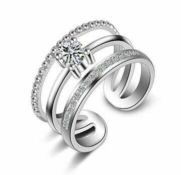 Ringe Damen Verstellbare 925 Silber + Zirkon Einfache Drei Schicht Diamant-Ring Eröffnung
