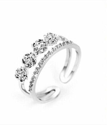 Ringe Damen Verstellbare 925 Silber 4 Rose mit Zirkonia für Partnerringe Freundschaftsringe Dopple-Ring (Silber)