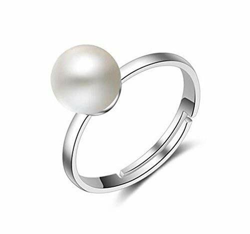 EXKLUSIV Damen Ringe Partnerringe 925 Sterling Silber Verstellbar 8MM Perlen-Ringe Personalisierte Eröffnungringe