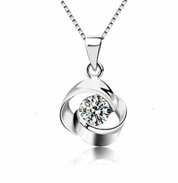 EXKLUSIV Damen Herren Halskette 925 Sterling Silber mit Anhänger Ewige Liebe mit Zirkonia--Anhänger +Kette--