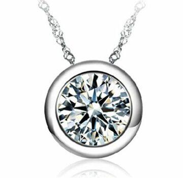 EXKLUSIV Damen Schmuck Retro Halskette 925 Sterling Silber ketten mit Anhänger Runde Zirkonia Geschenken für Muttertag
