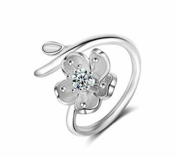 EXKLUSIV Damen Ringe Mode Ringe Partnerringe 925 Sterling Silber Zweig Blumen Verstellbarringe Eröffnungringe