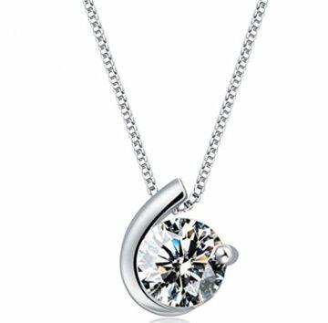 EXKLUSIV Halskette Damen mit Anhänger 925 Sterling Silber Liebe Mond mit Zirkonia--Anhänger +Kette
