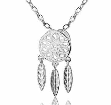 EXKLUSIV Damen Herren Halskette mit Anhänger Bohemian-Stil 925 Sterling Silber Feder mit Zirkonia--Anhänger +Kette