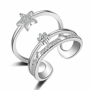 Ringe Damen Verstellbare 925 Silber Drei herzförmige Ringöffnung für Partnerringe Freundschaftsringe Knuckelringe
