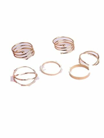EXKLUSIV Damen 6er ein-Set Multi-Ring Retro Knuckle Nagel-Ring