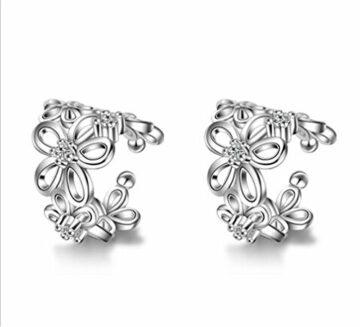 Ohrringe Clip Damen Mädchen 925er Sterling Silber Rose Blumen Hypoallergen