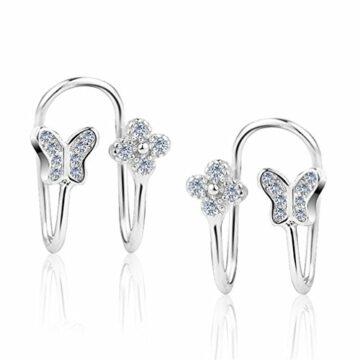 Damen Ohrclip Clover 925 Silber Schmetterling Stil Diamant Non piercing Ohrclips Ohrringe Ohrstecker