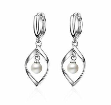EXKLUSIV Ohrstecker Damen Mädchen Liebes Perlenohrringe Drehen Ohrringe 925er Sterling Silber Hypoallergen Ohrhänger