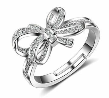 EXKLUSIV Damen Ringe 925 Sterling Silber Zirkonia Verstellbar Schmetterling Ring Partnerringe Öffnung Ring Freundschaftsringe Ring für Frauen