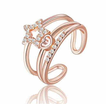Damen Ringe Rosegold Sterne Verstellbare 925 Sterling Silber mit Zirkon für Partnerringe Freundschaftsringe