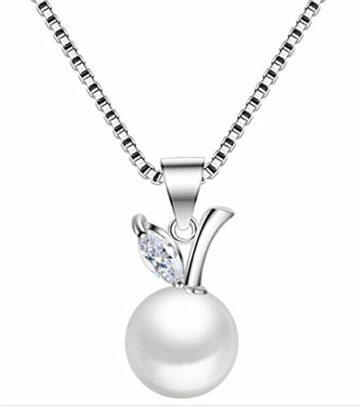 EXKLUSIV Damen Halskette Ketten mit Perlen Anhänger 925 Sterling Silber Schmuck fuer Hochzeit