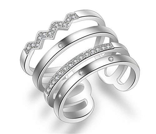 EXKLUSIV Damen 925 Sterling Silber Zirkonia Verstellbar Partnerringe Öffnung Ring Freundschaftsringe Ring für Frauen Geschenk