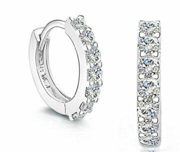 EXKLUSIV Damen Ohrringe Creolen 925 Sterling Silber Voller Zirkonia für Freundin Mädchen