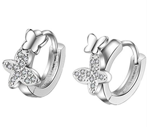 EXKLUSIV Ohrringe Damen Mädchen 925 Sterling Silber Ohrstecker Zircon Schmetterling Creolen aus echte 925 Sterling Silber für Party Schmuck