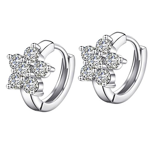 EXKLUSIV Damen Blumen Kristall Creolen aus 925 Sterling Silber für Frauen Damen Kinder Mädchen