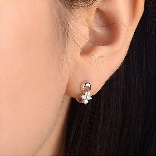 EXKLUSIV Creolen Silber 925 Klein Damen 925 Sterling Silber Ohrringe Mädchen Blumen mit Zirkonia Polierte Hypoallergen Ohrschmuck