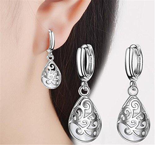 EXKLUSIV Hängend Creolen Damen Mädchen Ohrstecker Elegant Ohrringe Ohrhänger 925er Sterling Silber Hypoallergen