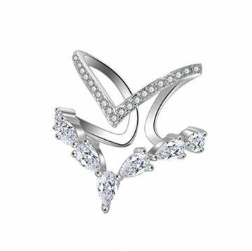 Attraktive Damen Ringe Partnerringe 925 Sterling Silber Verstellbar Personalisierte Modische Unregelmäßige Doppeldiamantring Eröffnungringe