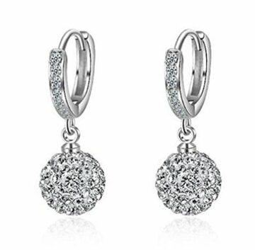 EXKLUSIV Damen Creolen mit glitzernden Zirkonia Ohrringe Ohrclip Ohrschmuck Kristall aus 925 Sterling Silber