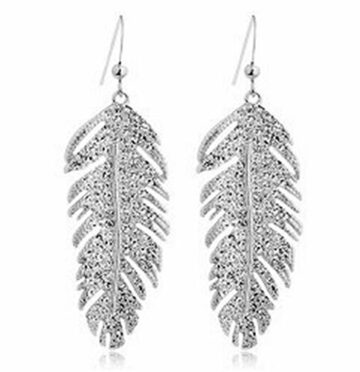 Ohrhänger Ohrringe Elegante weibliche Modelle Kristall Ohrringe Liebe Flügel Baumblatt (Silber)