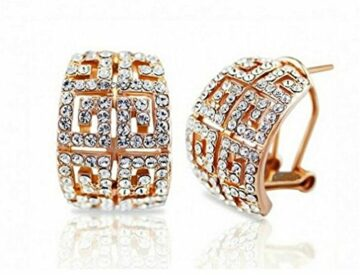 Damen Creolen Ohrschmuck Ohrrringe Diamant Hohl Hypoallergen Bling Schmuck (Gold)