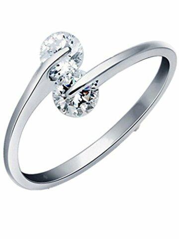 Ringe Damen Verstellbare 925 Silber für Partnerringe Freundschaftsringe Eheringe Dopple mit Glitter Zirkonia-5 MM