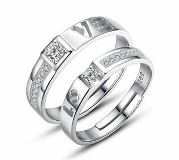 """EXKLUSIV Ringe Ein-Paar Bijou Ringe """"LOVE"""" Freundschaftsringe Eheringe Verstellbare 925 Silber Hochzeit Ring Damen Herren Ring mit Geschenk-Box"""