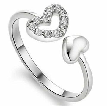 EXKLUSIV Damen Ring Bijou Ringe Kristallen Herz Freundschaftsringe Engagement Ringe Eheringe 925 Silber Hochzeit Ring Verstellbare mit Geschenk-Box