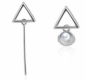Damen Schmuck Asymmetrische Dreieck Perlen-Ohrringe Ohrstecker Ohrhänge aus 925 Silber