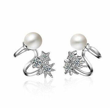 EXKLUSIV Ohrclips Ohrstecker Damen Mädchen Elegant Perlen +Zirkonia Ohrringe 925er Sterling Silber Hypoallergen Perlenohrringe