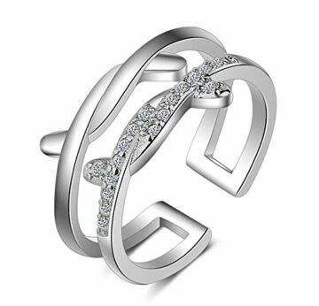 EXKLUSIV Freundschaftsringe Öffnungsring Doppelte Linie Cross Ring Damen 925 Sterling Silber Sterlingsilber Verstellbare