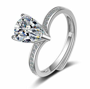 EXKLUSIV Ring Damen 925 Sterling Silber Partnerringe Freundschaftsringe Ringe #52-62mm Verstellbare Möwe Ring Liebe 5A-Zirkon