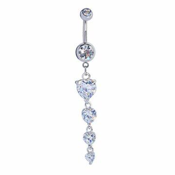 Bauchnabel-Piercing Nabelpiercing Schmuck Kristall mit Anhänger 3 Herz (silber)