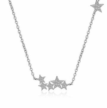 Damen-Ketten Halsketten mit Anhänger 925 Sterling Silber Sterne Halskette 45cm Schmuck für Frauen