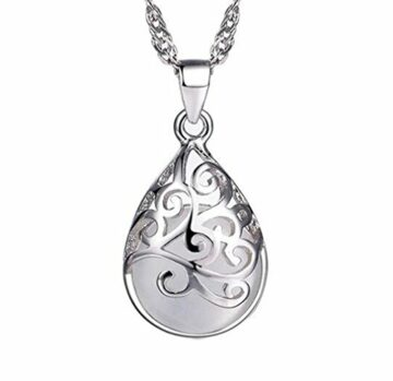 EXKLUSIV Damen Retro Ketten 925 Sterling Silber Halskette Silber mit Anhänger Ethnische Art Hohl Opal ,Kette 45cm (Weiss)